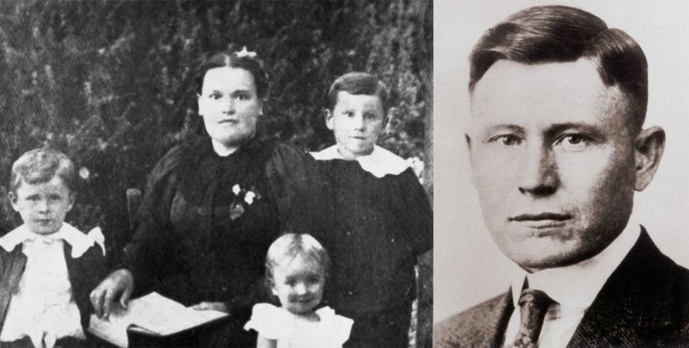 Гарланд Сандерс с мамой и младшими братом и сестрой (слева) и он же в молодости (справа).